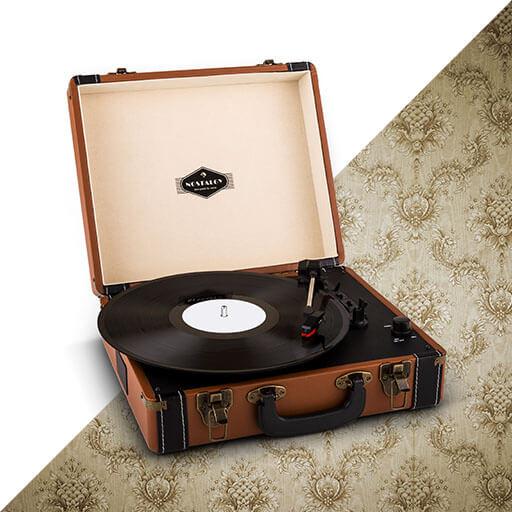 auna Jerry Lee Platine vinyle look retro avec port USB numérisation -marron